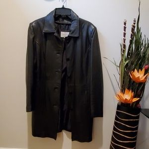 Long black leather jacket